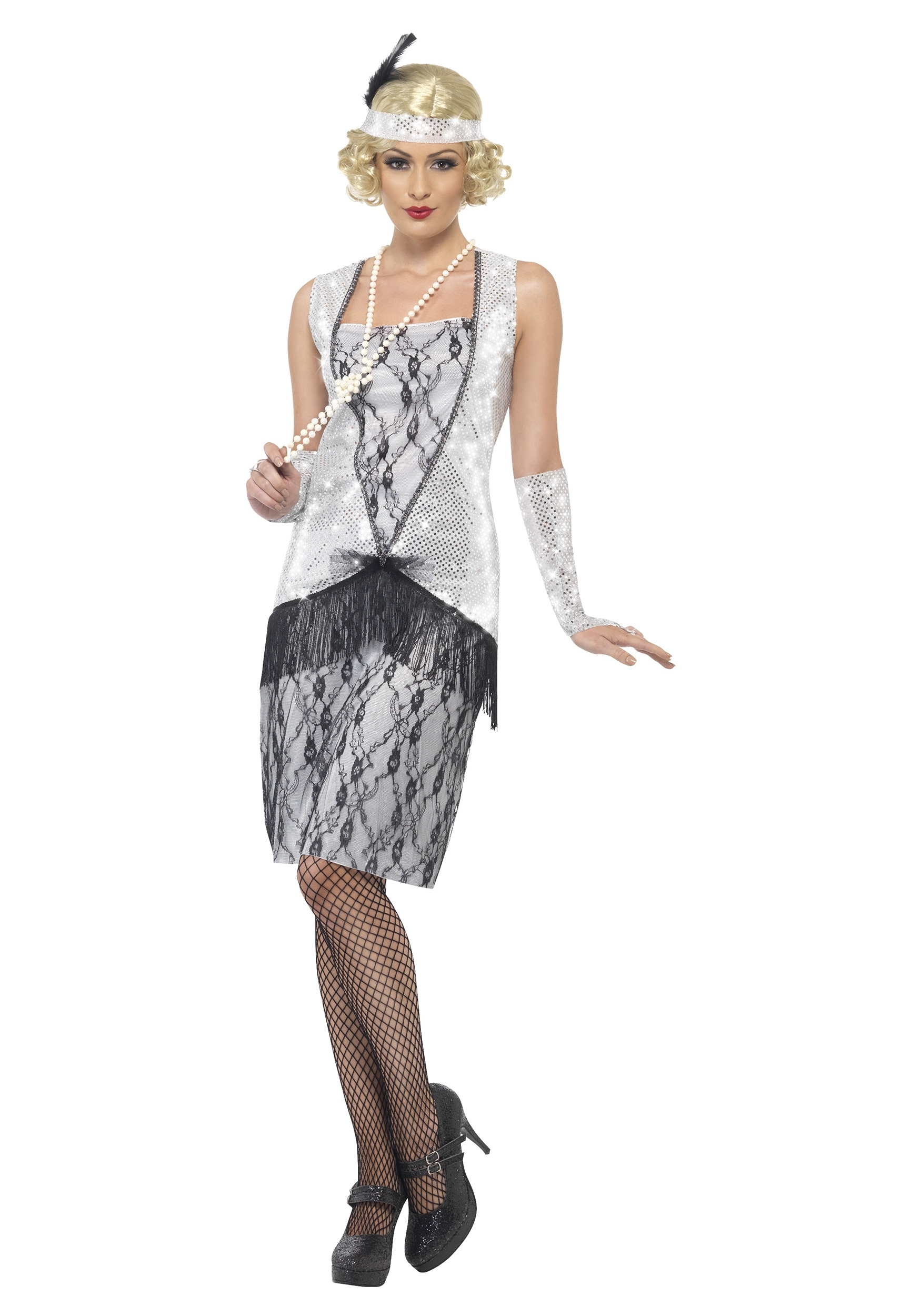 1920s Silver Flapper Costume For Women