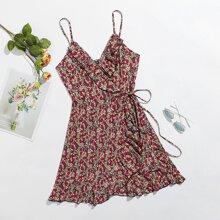 Kleid mit Rueschen, seitlichem Band, Wickel Design und Blumen Muster
