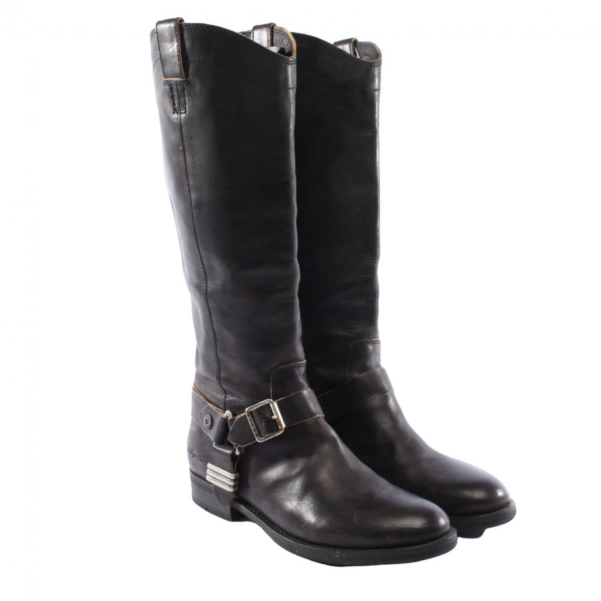 Tommy Hilfiger - Bottes   pour femme en cuir - noir