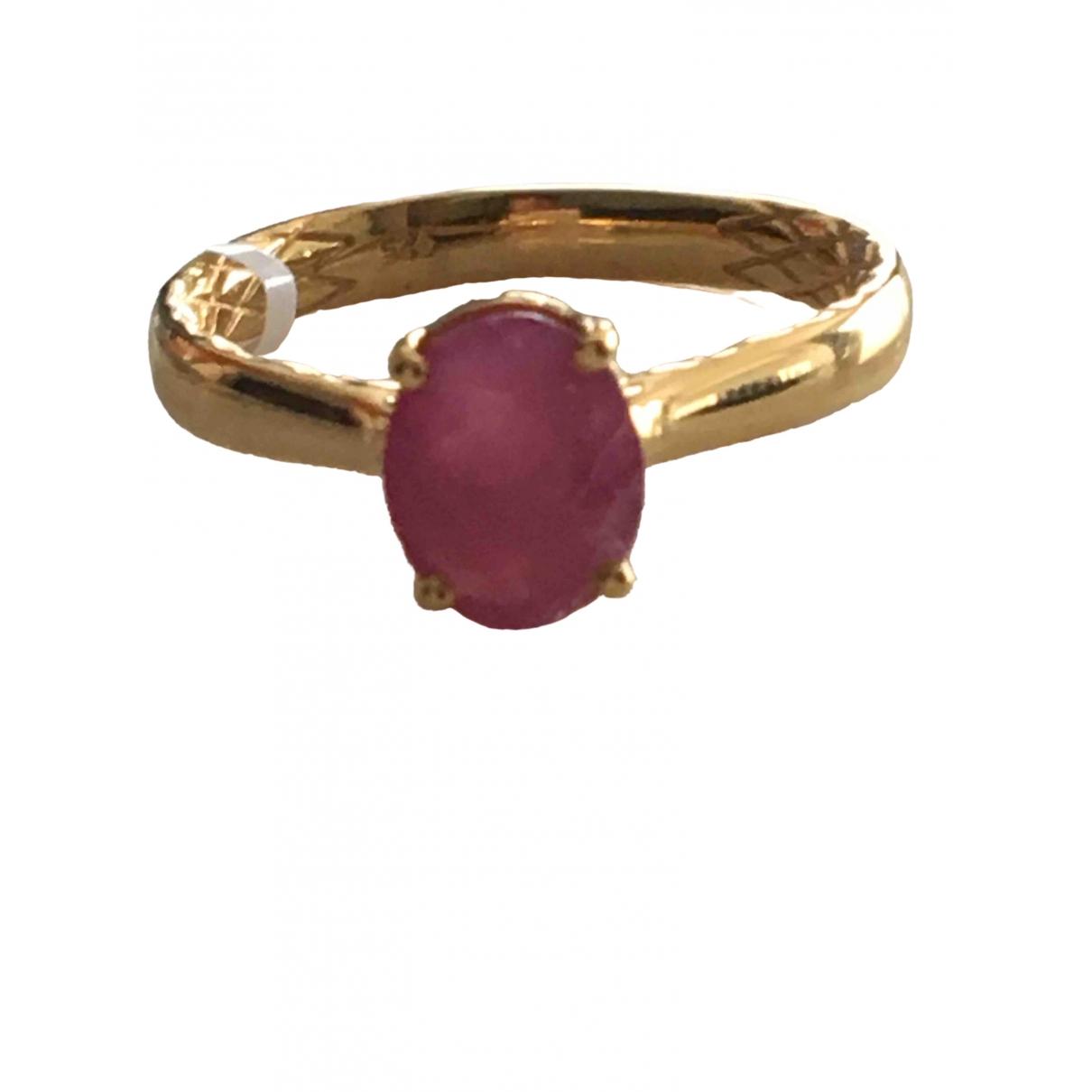 Non Signe / Unsigned Saphir Ring in  Rosa Vermeil