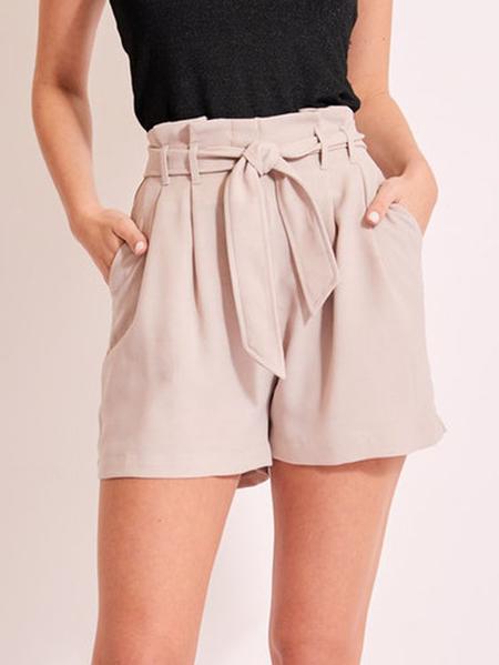 YOINS Beige Belt Design Tie Up Shorts