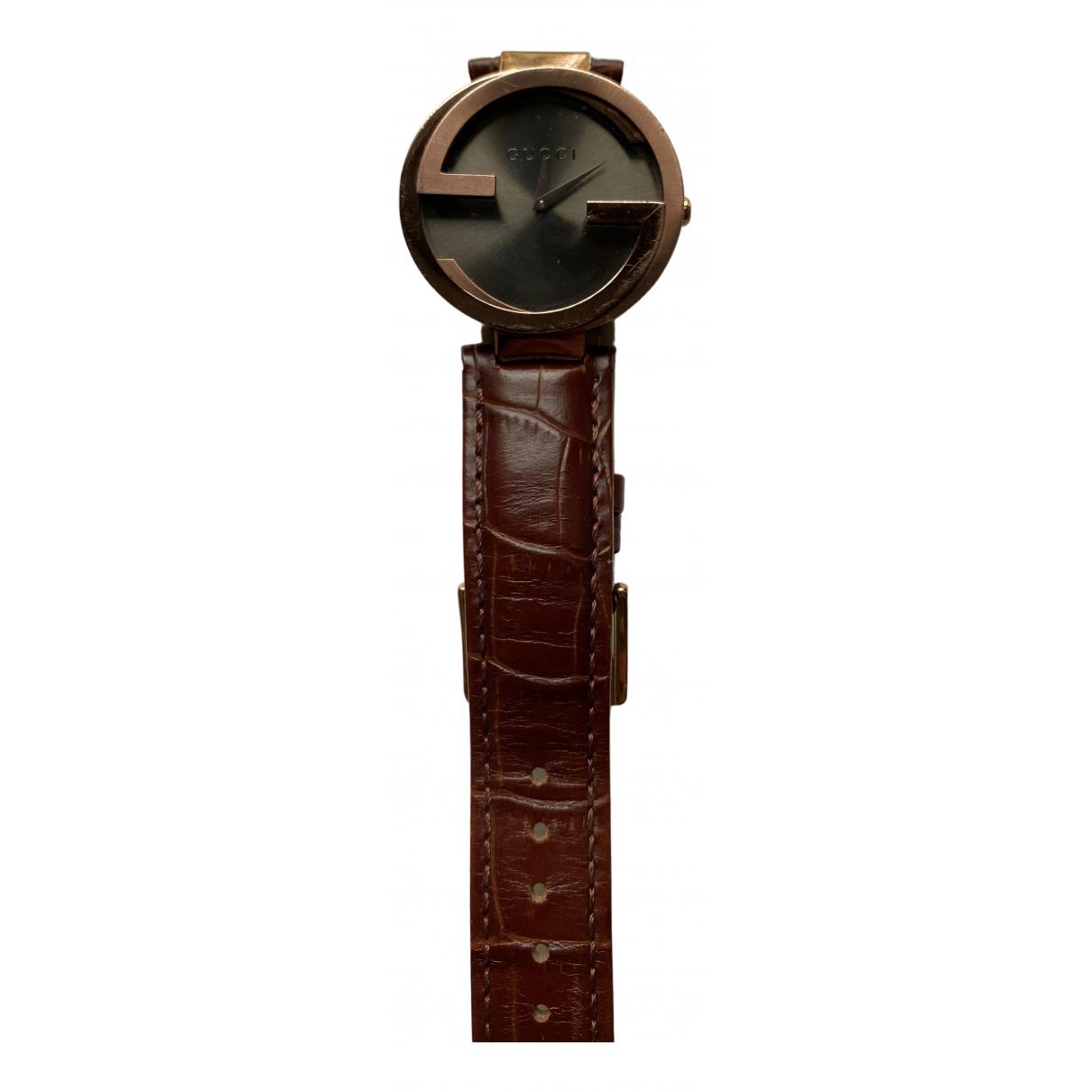 Gucci Interlocking Uhr in  Braun Stahl