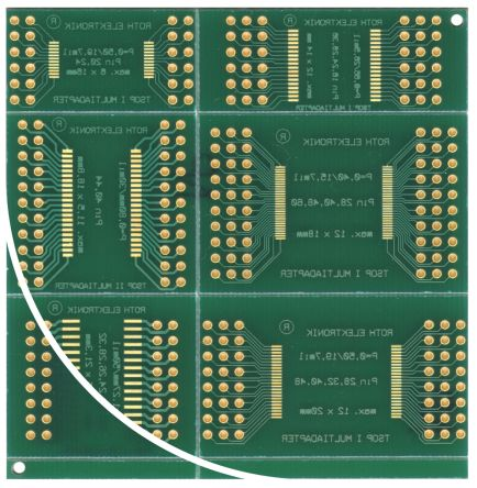 Roth Elektronik Surface Mount (SMT) Board TSOP I, TSOP II Epoxy Glass Double-Sided 76.2 x 72.6 x 1.5mm FR4