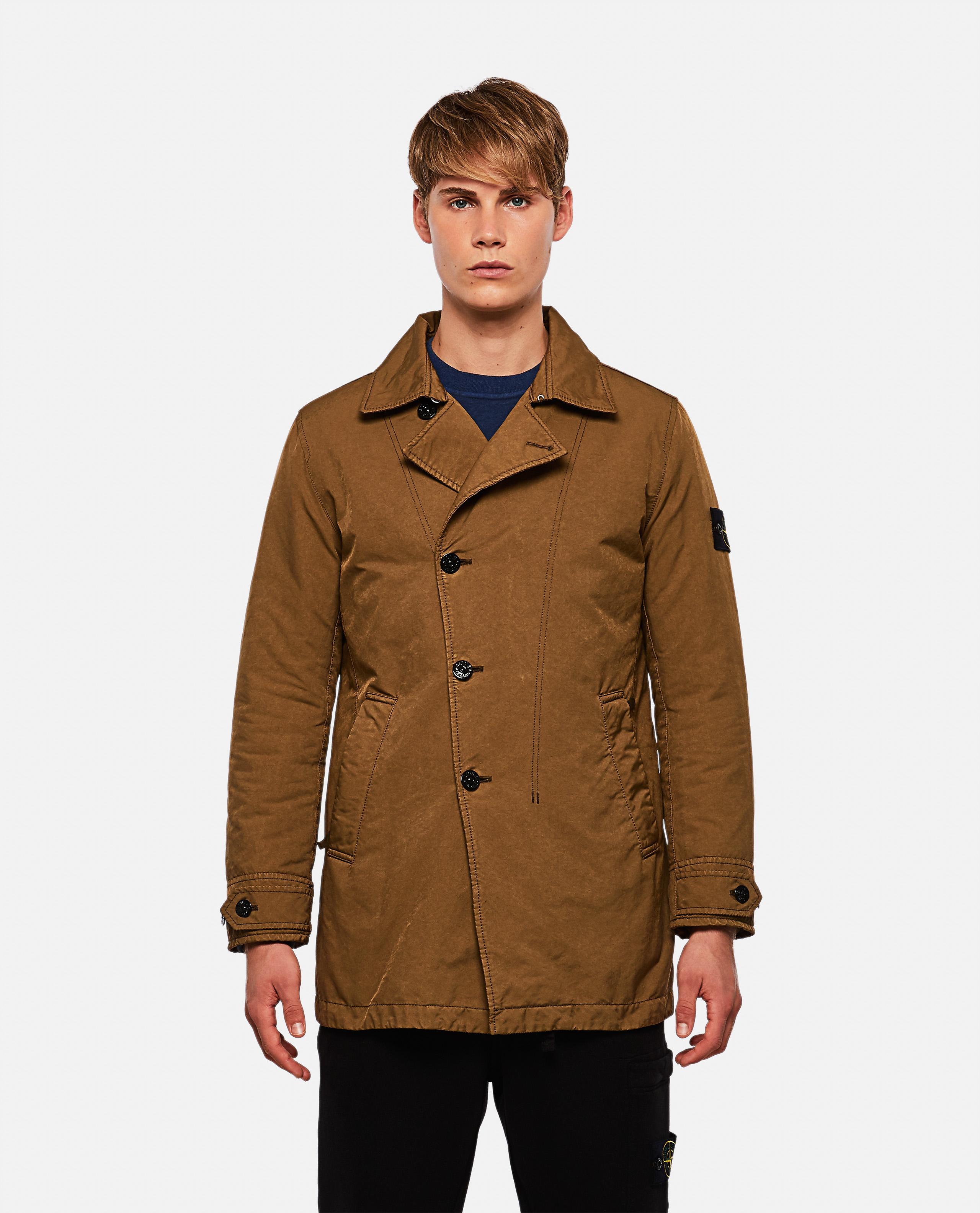 Coat with off-center closure