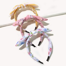 3pcs Toddler Girls Flower Print Bow Knot Hair Hoop