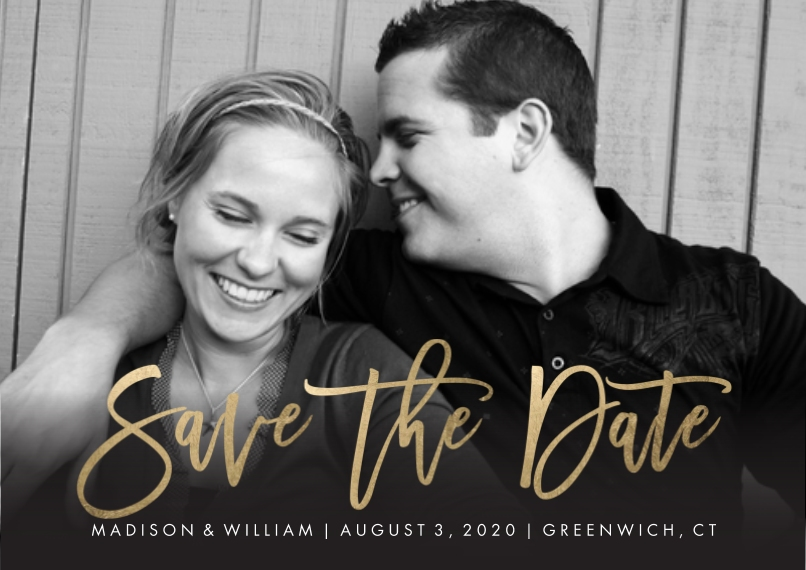 Save the Date 5x7 Cards, Premium Cardstock 120lb with Rounded Corners, Card & Stationery -Save the Date Modern Script