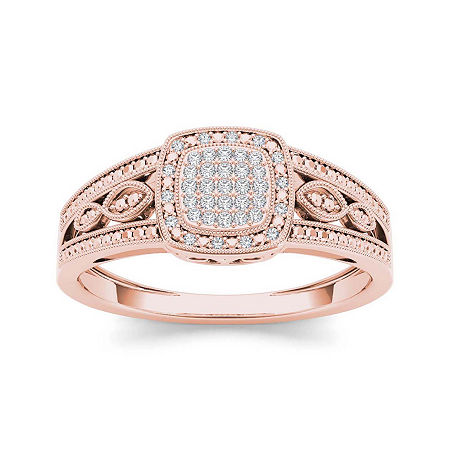 1/10 CT. T.W. Diamond 10K Rose Gold Engagement Ring, 9 , No Color Family