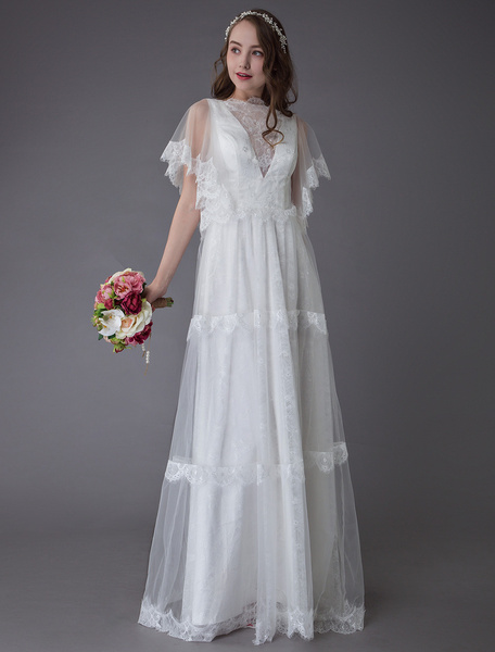Milanoo Boho Wedding Dresses Lace Ivory Short Sleeve Summer Beach Bridal Gowns