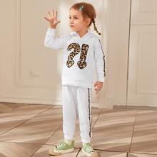 Toddler Girls Leopard Heart Hoodie & Side Striped Sweatpants