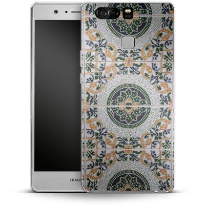 Huawei P9 Silikon Handyhuelle - Yellow and Green Tiles von Omid Scheybani