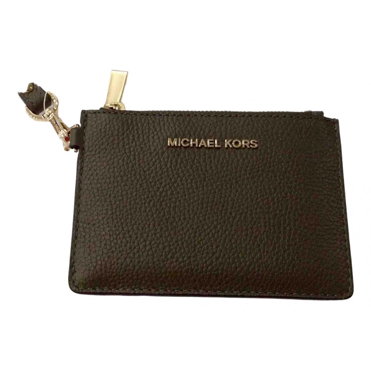 Michael Kors - Portefeuille   pour femme en cuir - kaki