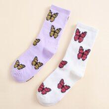 2 Paare Socken mit Schmetterling Muster