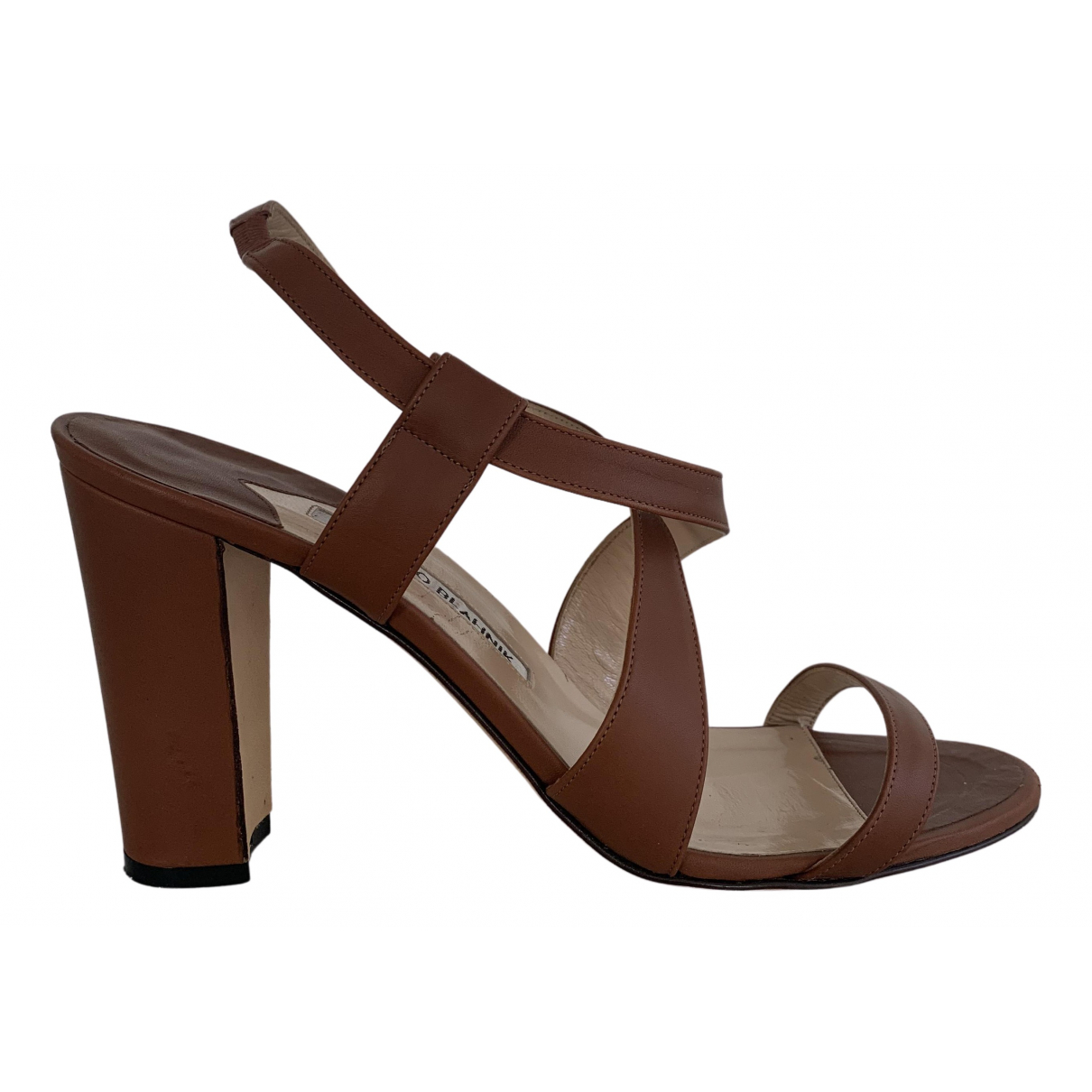 Manolo Blahnik N Brown Leather Sandals for Women 39 EU