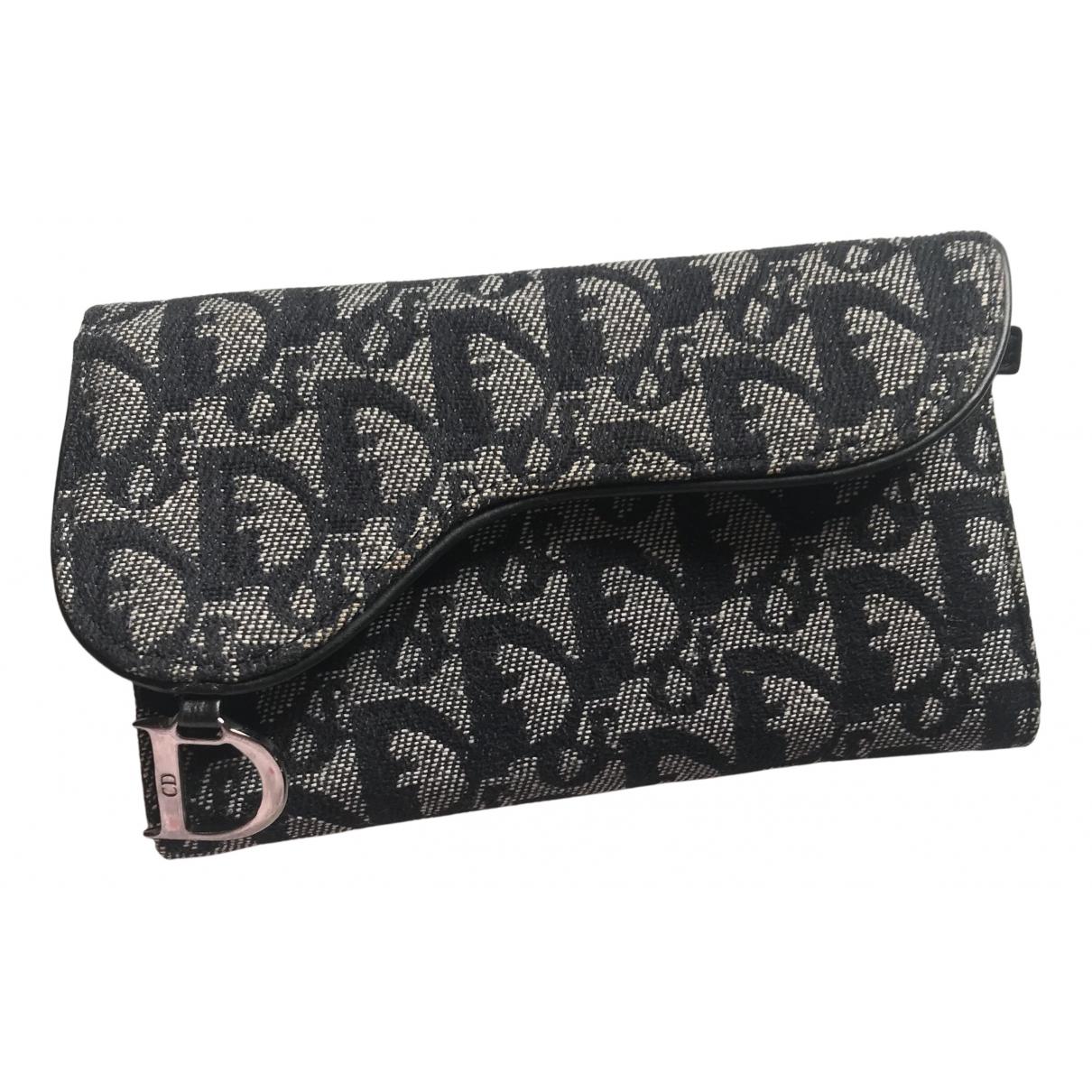 Dior - Petite maroquinerie Saddle pour femme en coton - marine