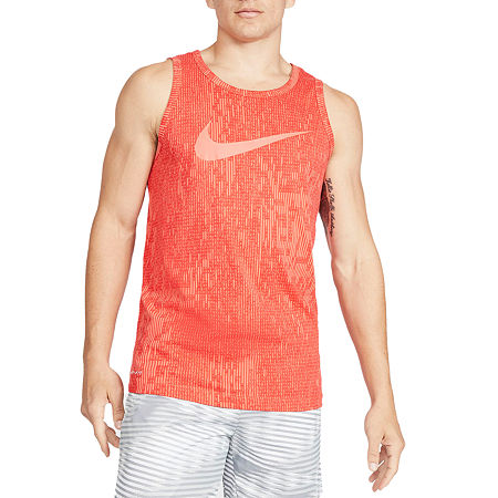 Nike Mens Crew Neck Sleeveless Moisture Wicking Tank Top, Large , Red