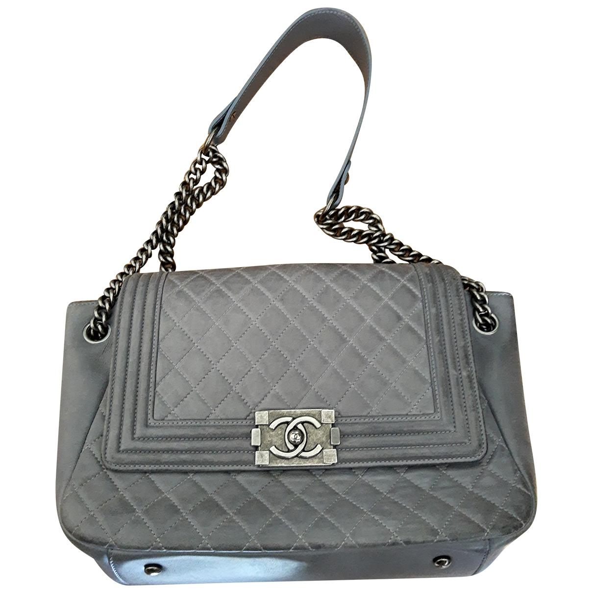 Chanel Boy Handtasche in  Anthrazit Leder