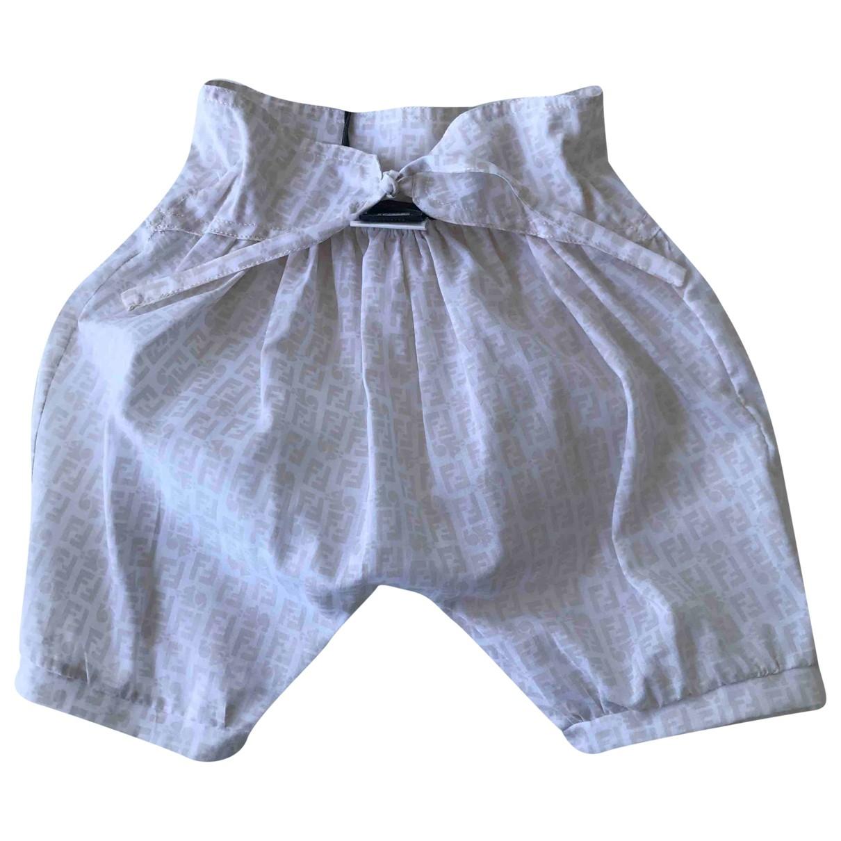 Fendi - Short   pour enfant en coton - blanc