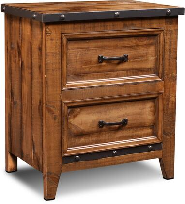 HH-4365-350 Rustic City Collection Nightstand with Distress Details  Nail Head Accent  Decorative Hardware  Simple Pull  MDF Construction and Molding
