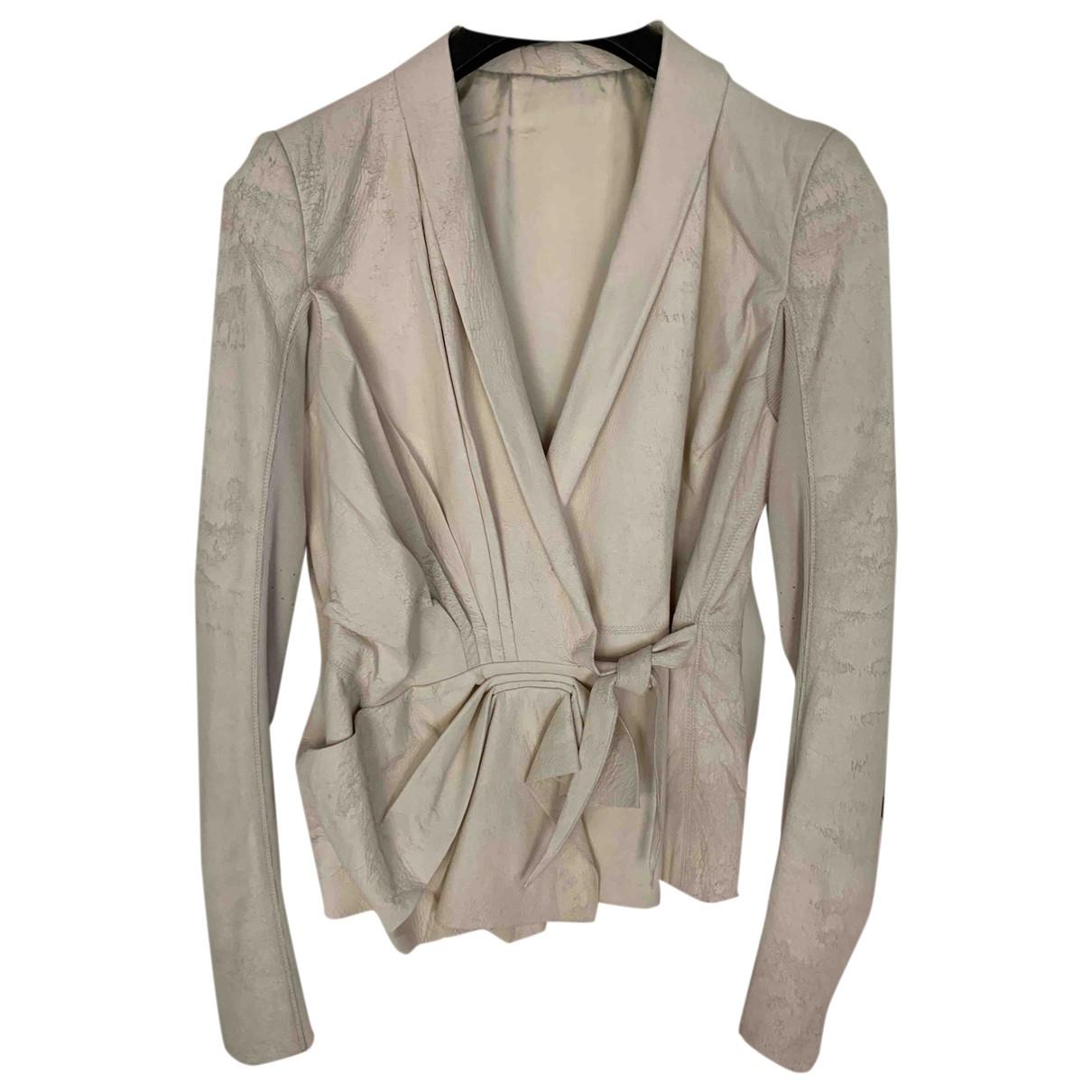Rick Owens - Veste   pour femme en cuir - beige
