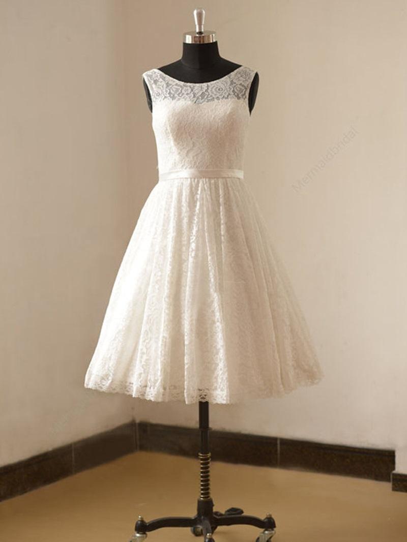 Ericdress Short Lace Summer Beach Wedding Dress