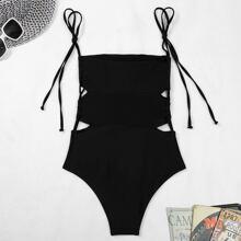 Cut-out Side Tie Shoulder One Piece Swimsuit