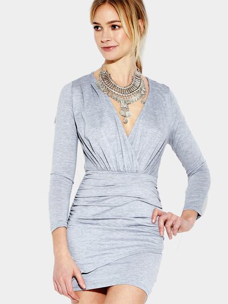 Yoins Gray V-neck Bodycon Long Sleeves Dress