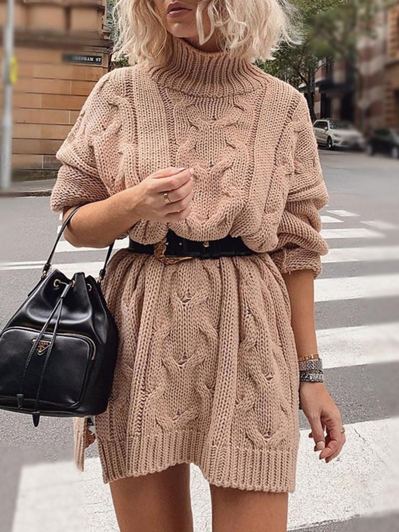 Ericdress Turtleneck Split Long Sleeve Fall Pullover Dress