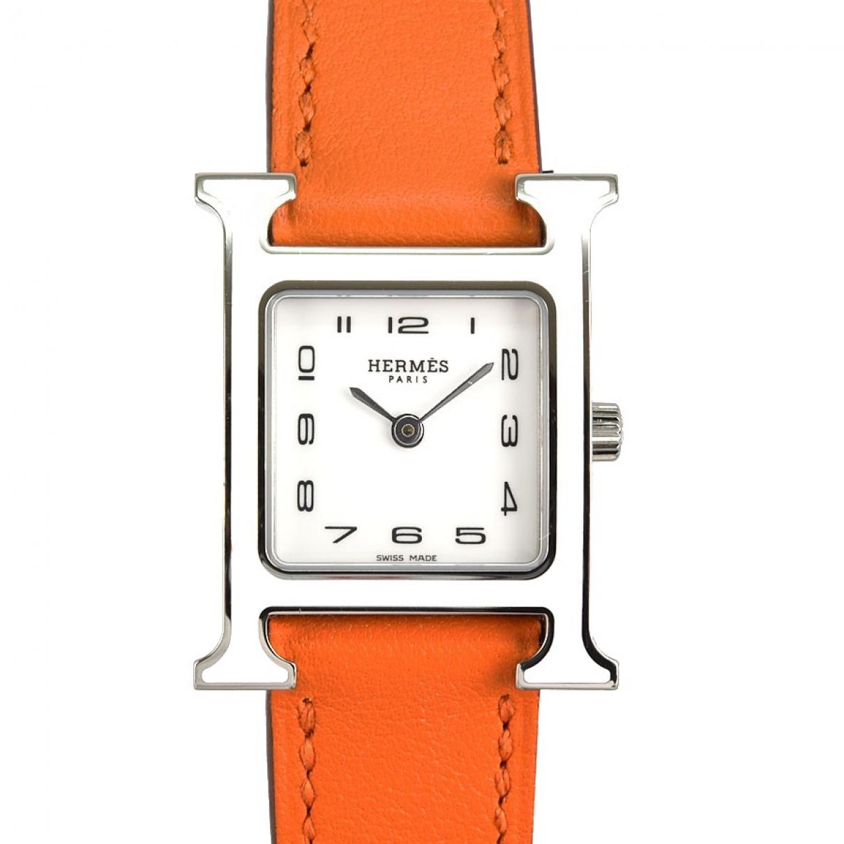 Hermes - Montre Heure H pour femme en acier - blanc