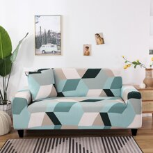 1pc Geometric Pattern Stretchy Sofa Cover Without Cushion