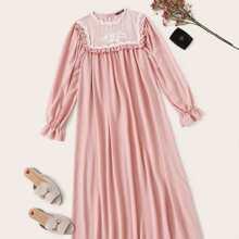 Frilled Trim Lace Yoke Nightdress