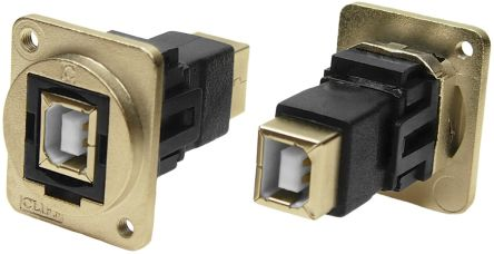 RS PRO USB Connector, Panel Mount, Female to Male 2.0 B to B, Screw, Straight- Dual Port