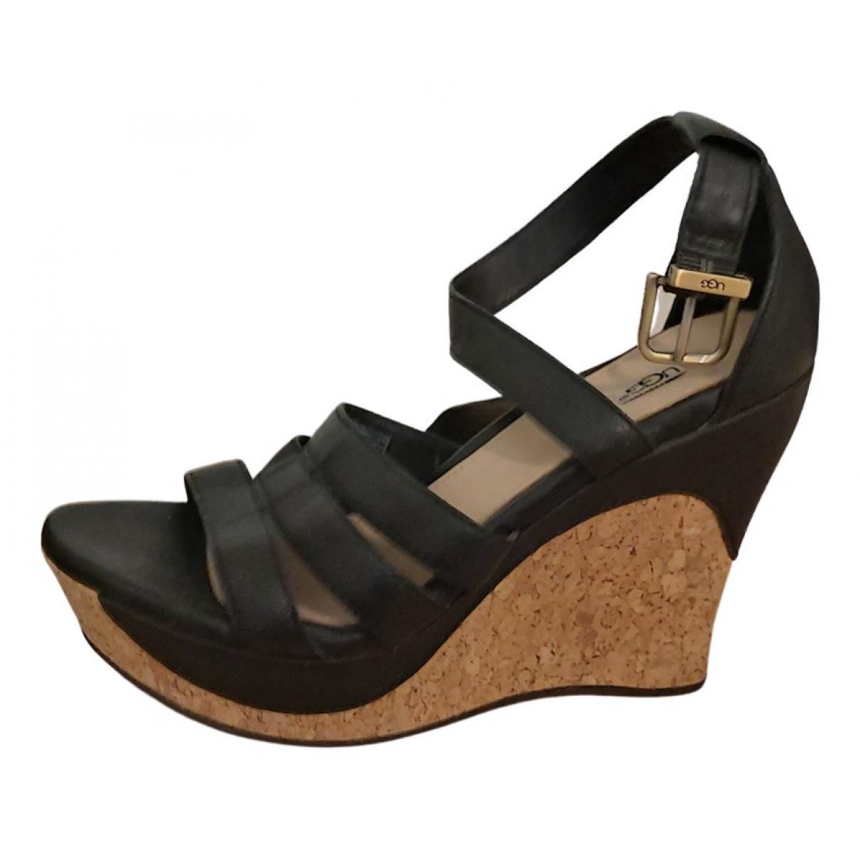 Ugg N Black Leather Heels for Women 37 EU