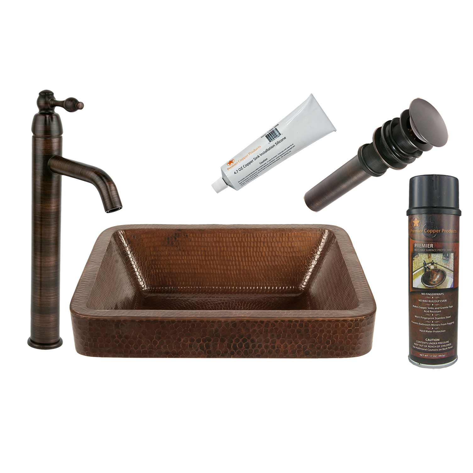 17 inch Rectangle Skirted Vessel Hammered Copper Sink, Faucet and Accessories Package, Oil Rubbed Bronze