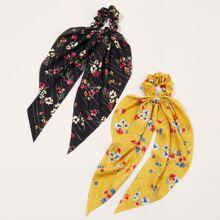 2 Stuecke Haarband mit Blumen Muster und Knoten