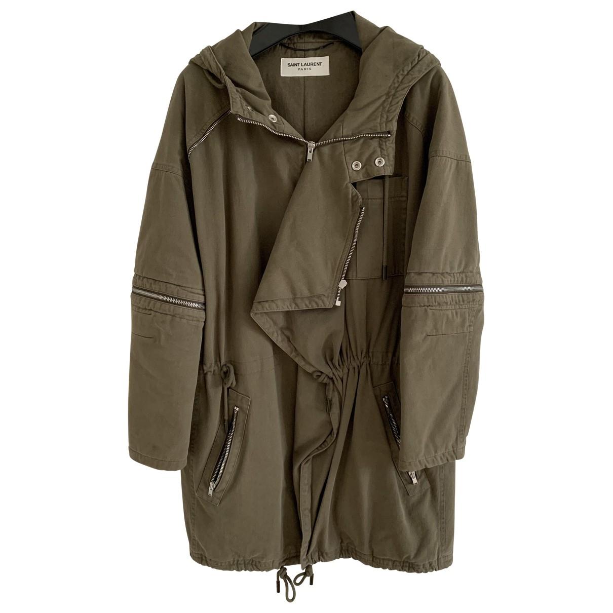 Saint Laurent \N Khaki Cotton coat for Women 34 FR