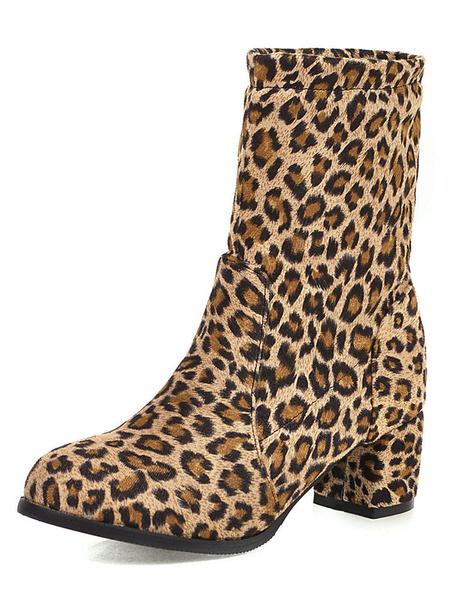 Milanoo Women Short Boots Leopard Chunky Heel 2 Winter Booties