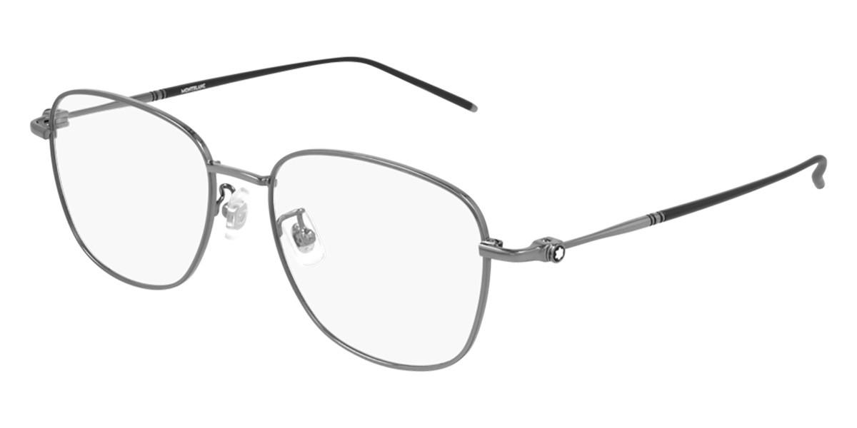 Mont Blanc MB0139OK Asian Fit 005 Men's Glasses Grey Size 52 - Free Lenses - HSA/FSA Insurance - Blue Light Block Available