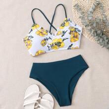 Bikini Badeanzug mit Blumen Muster, Bogenkante und Band hinten