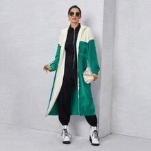 Zweifarbiger Samt Mantel mit Kordelzug auf Taille