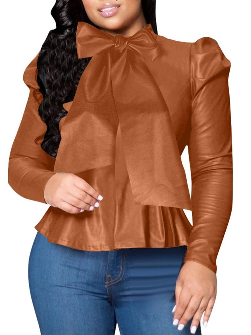 Ericdress Plain Bowknot Regular Long Sleeve Standard Womens Blouse