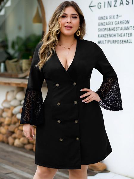 Yoins Plus Size Black Front Button Deep V Neck Lace Dress