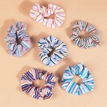 6 piezas goma de pelo de niñitas con patron de rayas