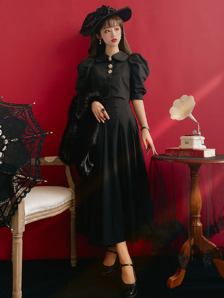 Milanoo Black Lolita Outfits Classic Audrey Gem Vintage Puff Sleeves Topwith Skirt