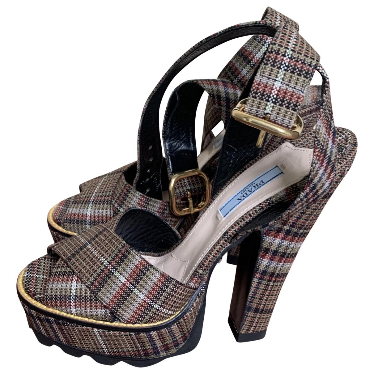 Prada \N Brown Tweed Sandals for Women 38 EU