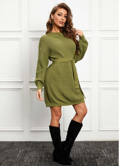 Cocktail Party Dress Belted Long Sleeve Round Neck Sweater Dress - L