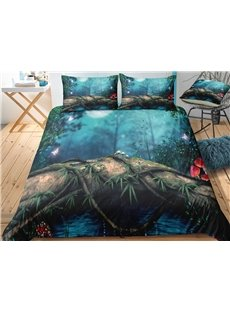 Green Plant and Butterflies Printed Polyester 3-Piece 3D Bedding Sets/ Duvet Covers
