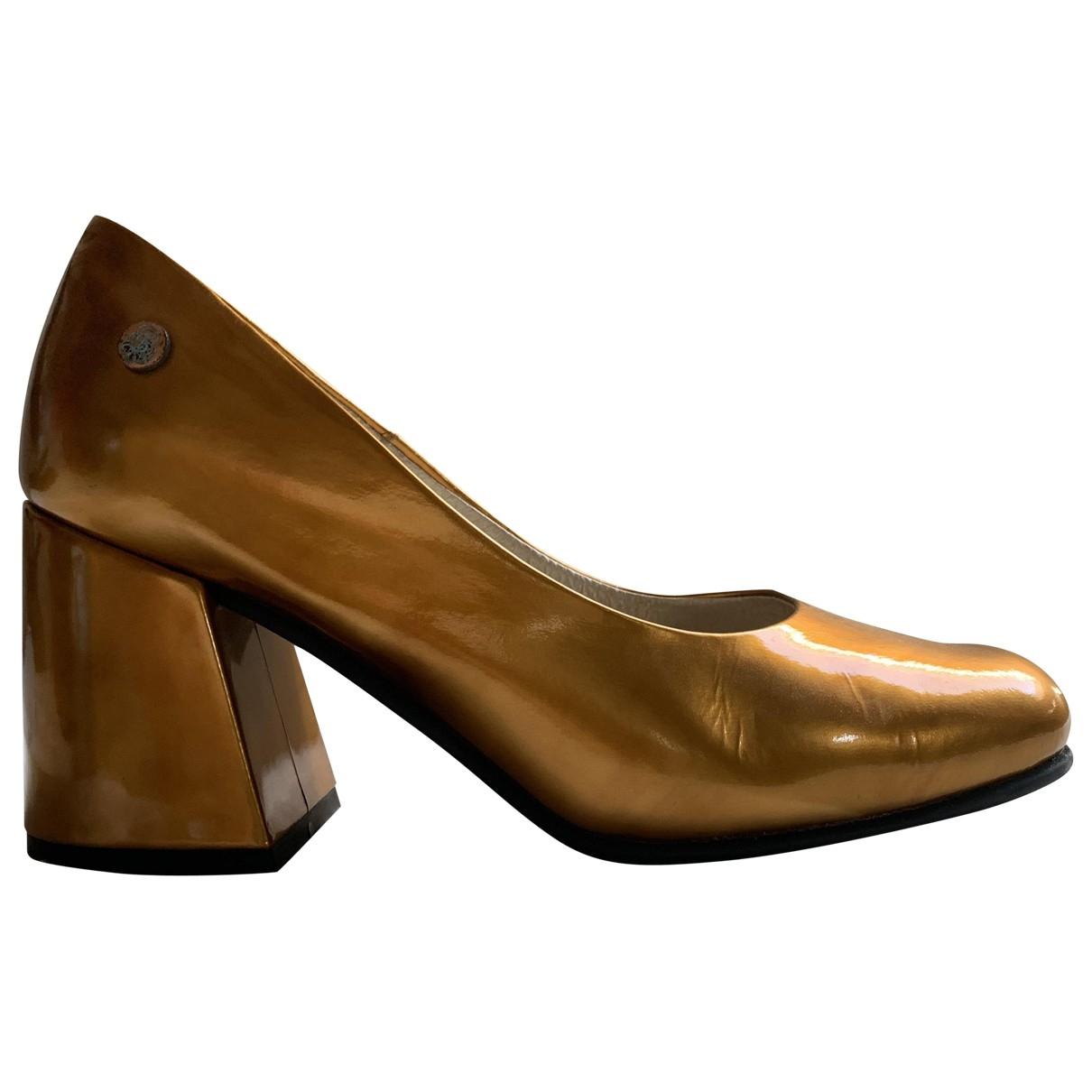 - Escarpins   pour femme en cuir - dore