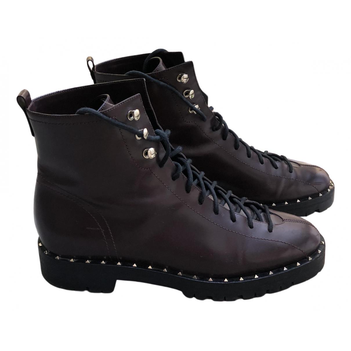 Valentino Garavani - Boots   pour femme en cuir - bordeaux