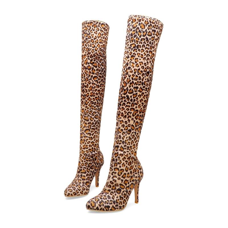 Ericdress Leopard Print Stiletto Heel Pointed Toe Women's Knee High Boots