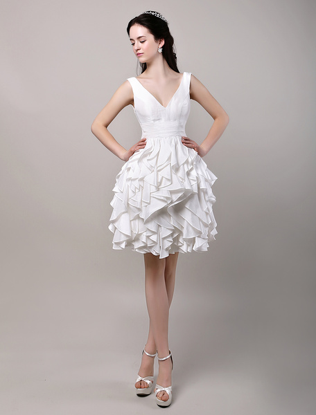 Milanoo Deep V-Neckline Ivory Taffeta Ruffle Short Wedding Dress